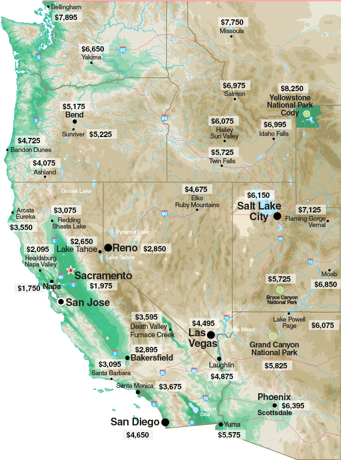 Western States Map - Socata TBM air fare pricing